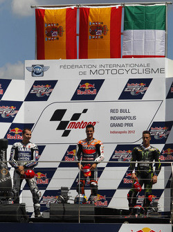 Podium: race winner Dani Pedrosa, Repsol Honda Team, second place Jorge Lorenzo, Yamaha Factory Racing, third place Andrea Dovizioso, Yamaha Tech 3