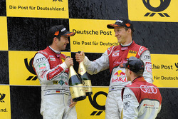 Podium: race winner Edoardo Mortara, Audi Sport Team Rosberg, second place Mike Rockenfeller, Audi Sport Team Phoenix Racing, third place Mattias Ekström, Audi Sport Team Abt Sportsline