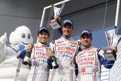 Second place finishers Nicolas Lapierre, Kazuki Nakajima, Alexander Wurz