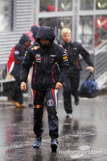 Sebastian Vettel, Red Bull Racing during a heavy rain shower