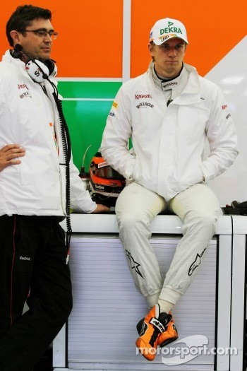 (L to R): Bradley Joyce, Sahara Force India F1 Race Engineer with Nico Hulkenberg, Sahara Force India F1