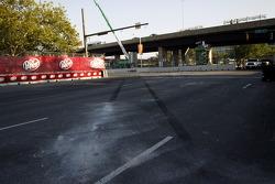 The aftermath of Dominik Farnbacher's crash