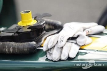 Gloves of Simon Trummer during red flag