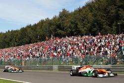 Nico Hulkenberg, Sahara Force India F1 leads team mate Paul di Resta, Sahara Force India