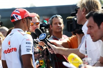 Lewis Hamilton, McLaren with the media