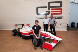 Esteban Gutierrez, Didier Perrin (GP3 Technical Director) and Mario Isola (Pirelli Racing manager) reveal the GP3-13 car