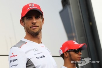 Jenson Button, McLaren and team mate Lewis Hamilton, McLaren