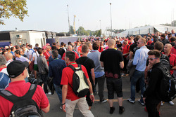 Big crowds outside the paddock