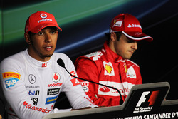 Pole sitter Lewis Hamilton, McLaren and third placed Felipe Massa, Ferrari in the post qualifying FIA Press Conference