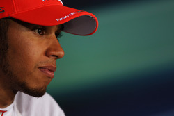 Pole sitter Lewis Hamilton, McLaren in the post qualifying FIA Press Conference
