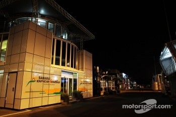 Sahara Force India F1 Team motorhome at night
