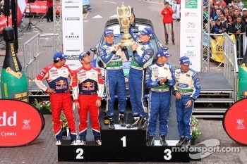 Podium: winners Jari-Matti Latvala and Miikka Anttila, Ford Fiesta RS WRC, Ford World Rally Team, second place Sbastien Loeb and Daniel Elena, Citron DS3 WRC, Citron Total World Rally Team, third place Petter Solberg and Chris Patterson, Ford Fiesta RS