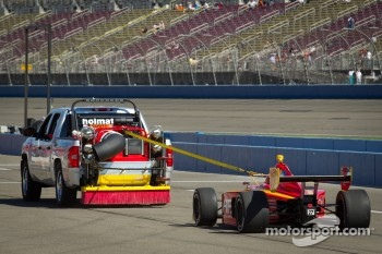 Sebastian Saavedra, AFS Racing back behind the tow truck before the start of the race