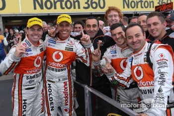 Craig Lowndes and Warren Luff celebrate the win
