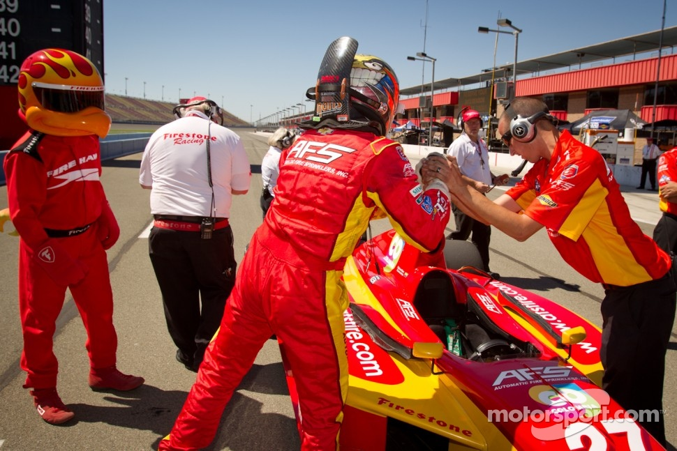 Pole winner Sebastian Saavedra, AFS Racing celebrates