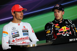 FIA press conference: race winner Sebastian Vettel, Red Bull Racing, second place Jenson Button, McLaren Mercedes