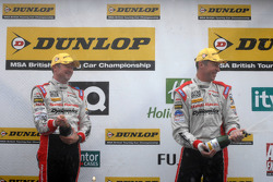 Honda Yuasa Racing Duo celebrate on podium