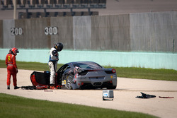 Heavy crash for #00 Ferrari of Houston 458TP: Owen Kratz, with driver coach Anthony Lazzaro
