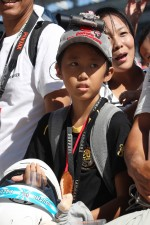 A young fan at the pit lane walkabout