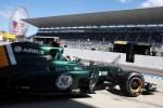 Giedo van der Garde, Caterham CT01 Third Driver leaves the pits