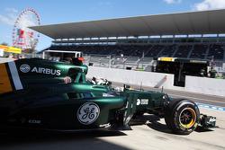 Giedo van der Garde, Caterham CT01 Third Driver leaves the pits