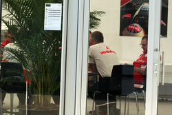 Martin Whitmarsh, McLaren Chief Executive Officer and Stefano Domenicali, Ferrari General Director in a teams' meeting
