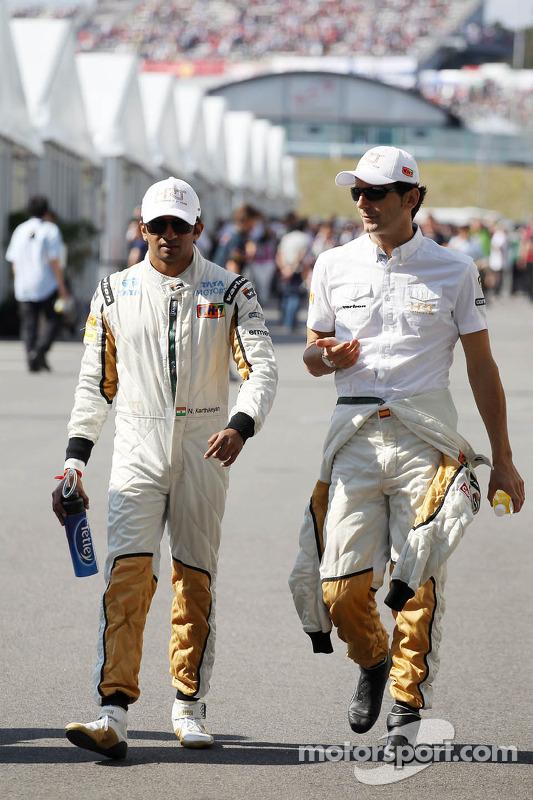 Narain Karthikeyan, Hispania Racing F1 Team, and Pedro De La Rosa, HRT Formula 1 Team
