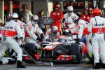 Jenson Button, McLaren makes a pit stop