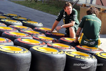 Pirelli tyres worked on by Caterham F1 Team mechanics