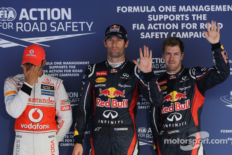 Pole winner Mark Webber, Red Bull Racing, second place Sebastian Vettel, Red Bull Racing, third place Lewis Hamilton, McLaren Mercedes