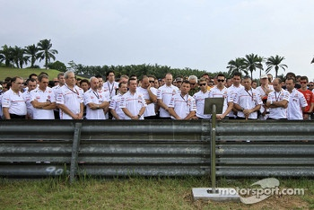 Tribute to Marco Simoncelli lead by Fausto Gresini of San Carlo Honda Gresini