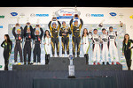 P1 podium: class and overall winners Andrea Belicchi, Neel Jani, Nicolas Prost, second place Chris Dyson, Guy Smith, Steven Kane, third place Lucas Luhr, Klaus Graf, Romain Dumas