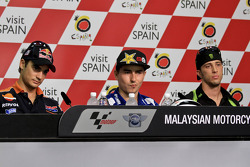 Pole winner Jorge Lorenzo, Yamaha Factory Racing, second place Dani Pedrosa, Repsol Honda Team, third place Cal Crutchlow, Yamaha Tech 3