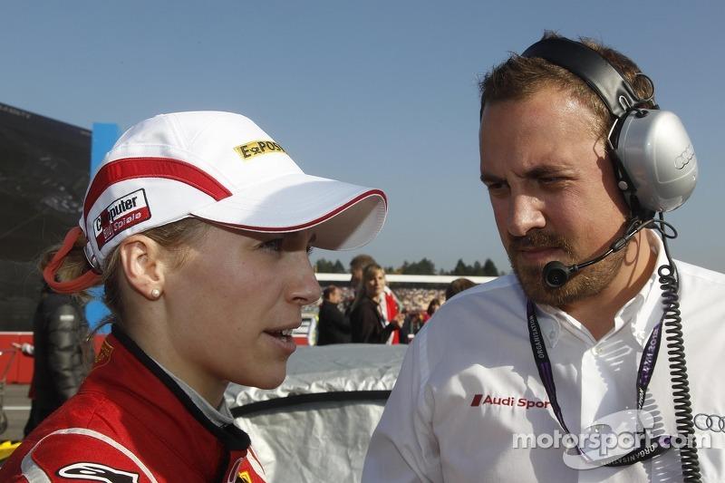 Rahel Frey, Audi Sport Team Abt Audi A5 DTM with her Engineer Christian Kirsch