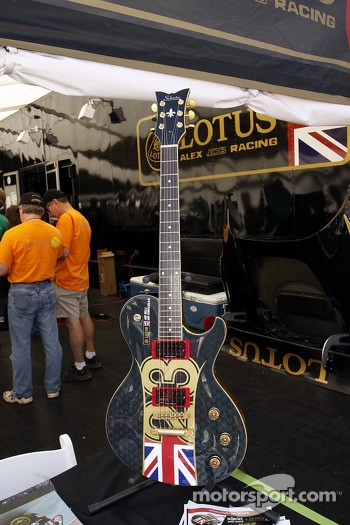 A guitar in the Alex Job Lotus team area