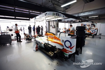 Sahara Force India F1 in the pit garages