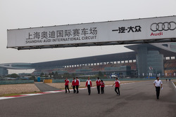 Audi car #1 team during track walk at Shanghai Circuit