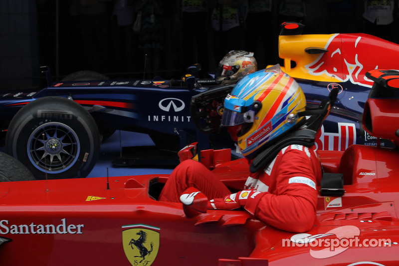 1st place Sebastian Vettel, Red Bull Racing and 2nd place Fernando Alonso, Scuderia Ferrari