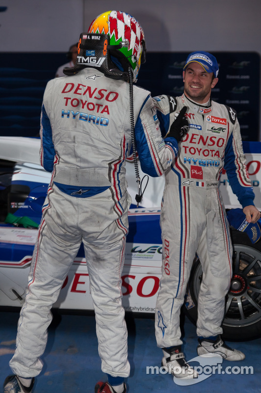 Race winners Alexander Wurz and Nicolas Lapierre celebrate their victory