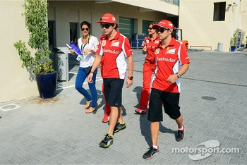 Fernando Alonso, Ferrari with team mate Felipe Massa, Ferrari