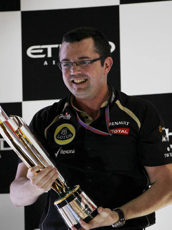 Eric Boullier, Lotus F1 Team Principal celebrates on the podium