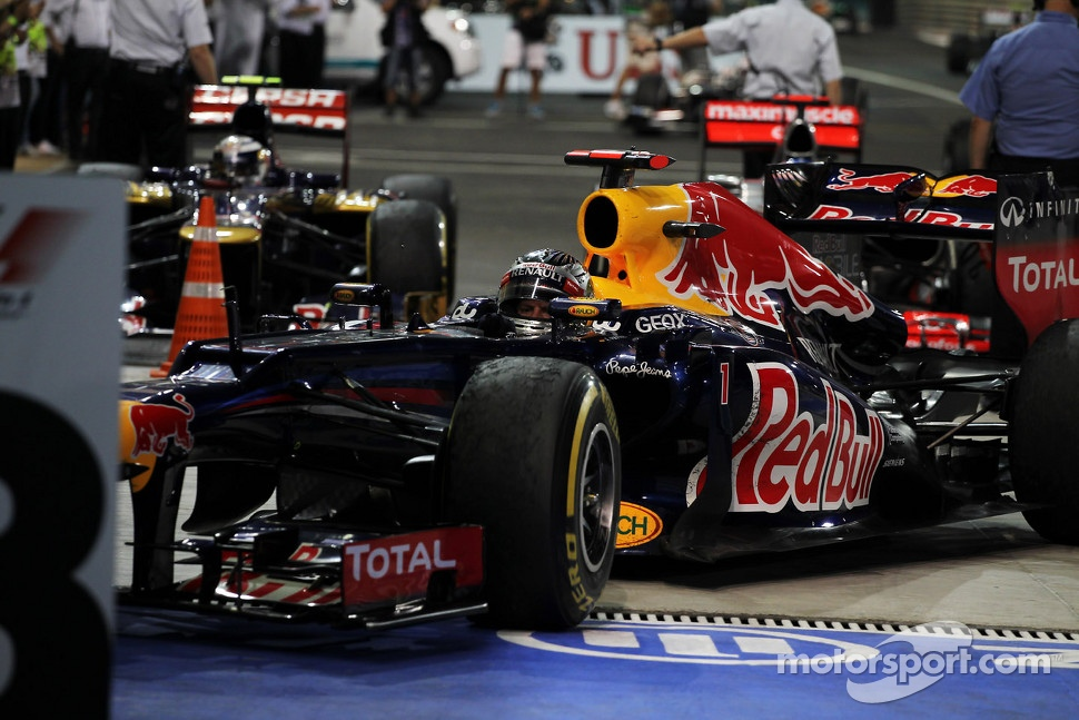 Sebastian Vettel, Red Bull Racing arrives in parc ferme