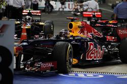 Sebastian Vettel, Red Bull Racing arrives in parc ferme