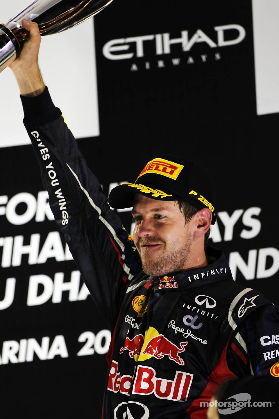 Sebastian Vettel, Red Bull Racing celebrates his third position on the podium