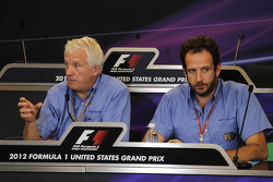 Charlie Whiting, FIA Delegate with Matteo Bonciani, FIA Media Delegate in a FIA Press Conference explaining 2013 Regulations