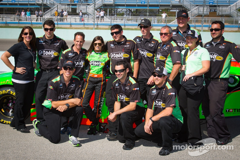 Danica Patrick, JR Motorsports Chevrolet poses with her team