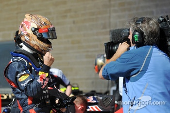 Polesitter Sebastian Vettel, Red Bull Racing celebrates