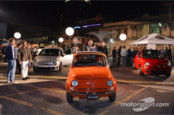 Fiat 500 display at the Austin Fan Fest on the Saturday night