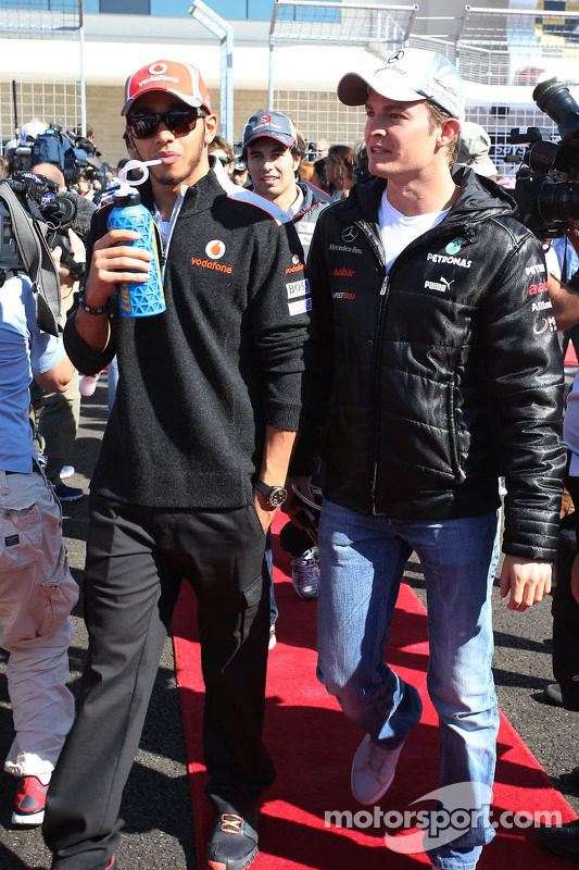Lewis Hamilton, McLaren with Nico Rosberg, Mercedes AMG F1 on the drivers parade