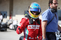 Fernando Alonso, Ferrari celebrates his third position in parc ferme